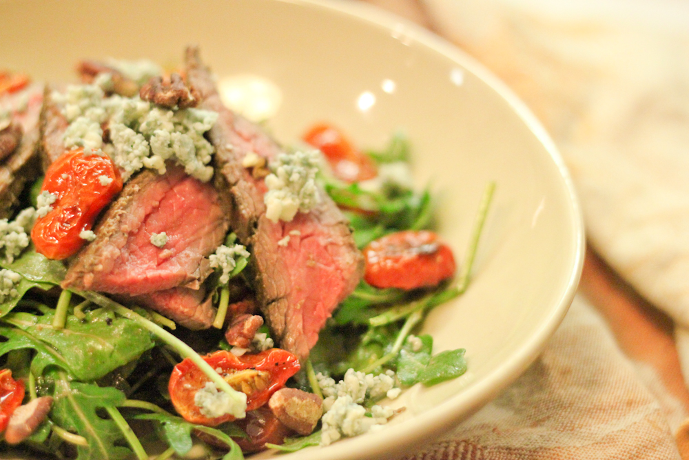 Grilled Flank Steak Salad with Roasted Tomatoes & Blue Cheese ...