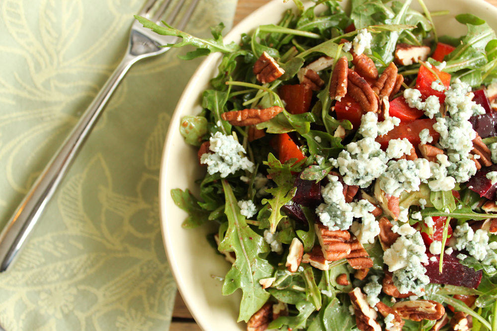 Arugula Salad with Roasted Beets, Blue Cheese, Mint & Pecans | Mission ...