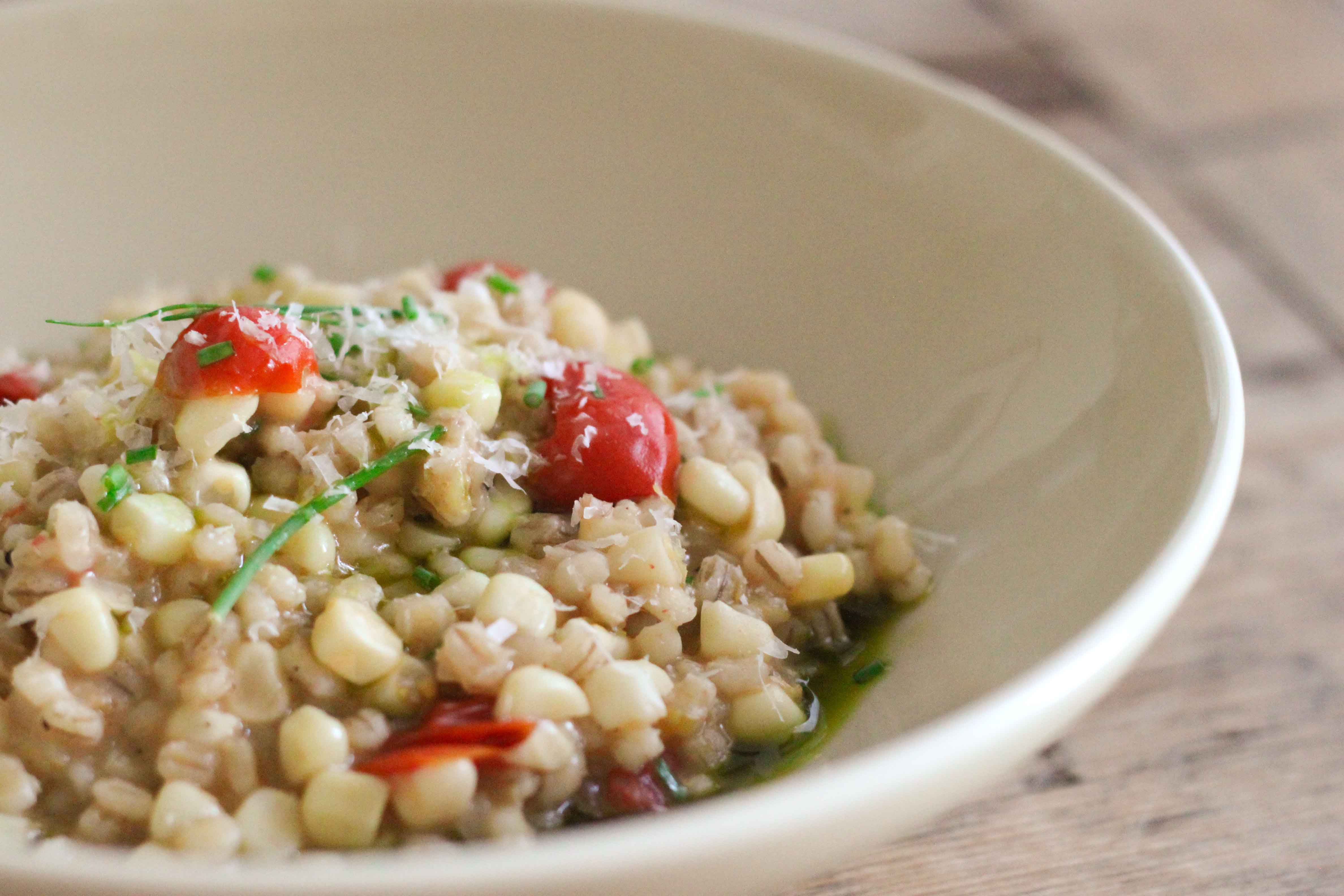 BARLEY RISOTTO WITH CORN, CHERRY TOMATOES & BASIL OIL