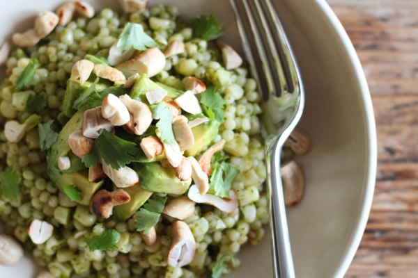 Pearl Couscous with Cilantro, Corn & Avocado | Mission Delectable